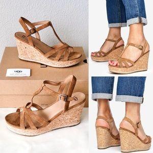 ✨New UGG Melissa Suede Cork Wedge Platform Sandals